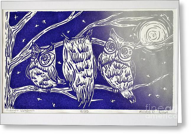 Lino Mixed Media Greeting Cards - Midnight Watchmen Greeting Card by Kimberly Wix