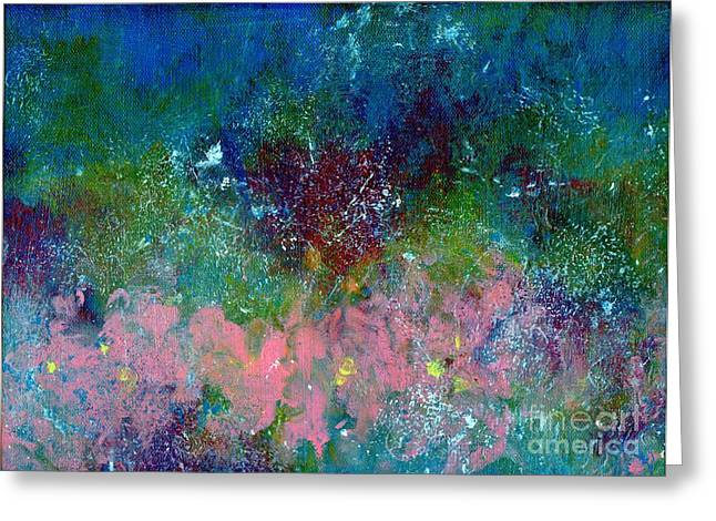 Splashy Paintings Greeting Cards - Midnights Garden Greeting Card by P J Lewis