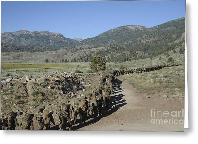 Bridgeport California Greeting Cards - Midshipmen Hiking At The Mountain Greeting Card by Stocktrek Images