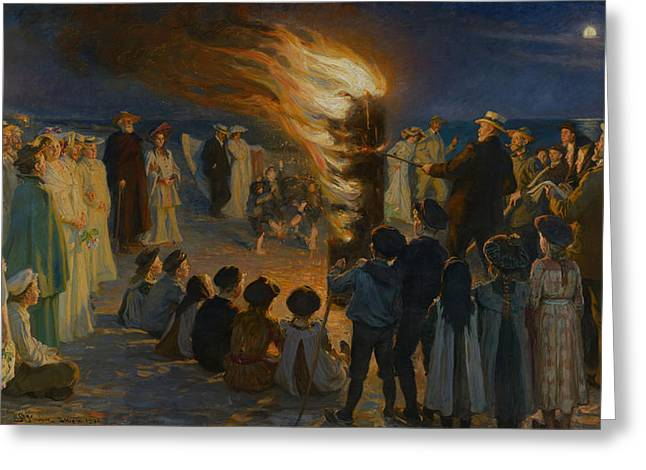 Skagen Greeting Cards - Midsummer Eve Bonfire on Skagen Beach  Greeting Card by P S  Kroyer