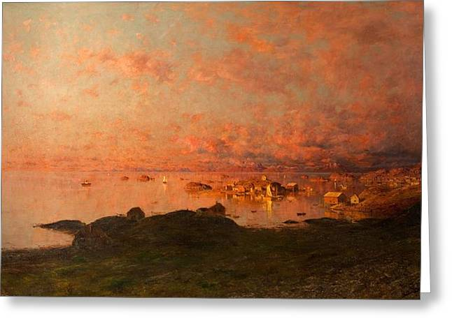 Norway Village Greeting Cards - Midsummer Night, Lofoten, Norway Greeting Card by Adelsteen Normann