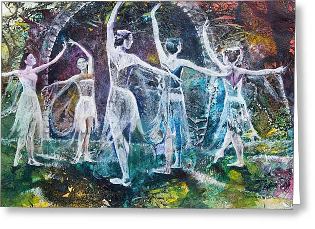 Patricia Mixed Media Greeting Cards - Midsummers Eve Ballet Greeting Card by Patricia Allingham Carlson