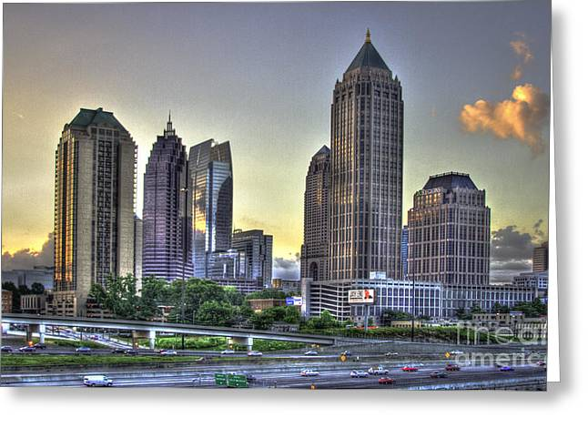 Metropolitan Area Greeting Cards - Midtown Atlanta Sunrise Greeting Card by Reid Callaway