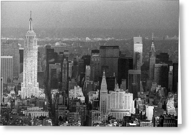 World Trade Centre Greeting Cards - Midtown Manhattan 1980s Greeting Card by Gary Eason