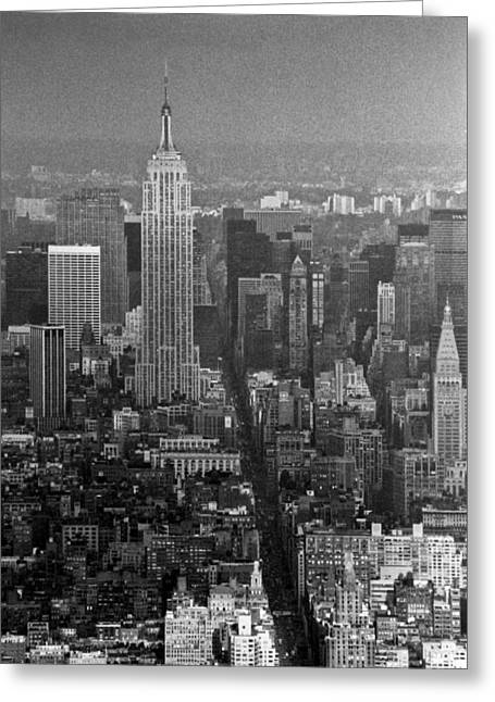 World Trade Centre Greeting Cards - Midtown Manhattan winter 1980s Greeting Card by Gary Eason