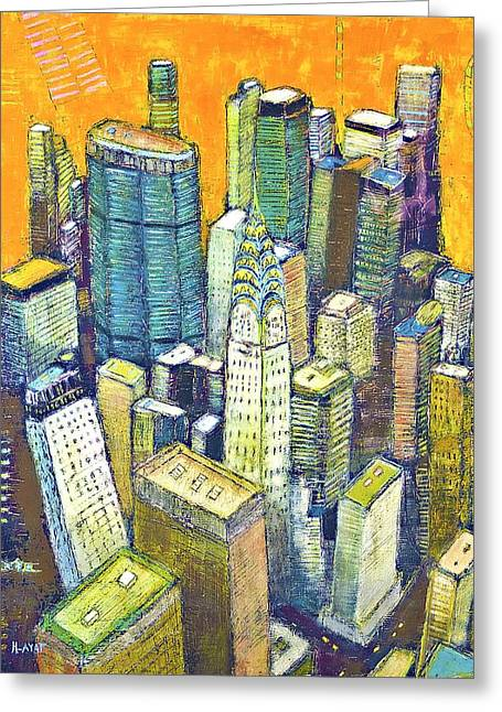 Local Mixed Media Greeting Cards - Midtown manhattan with Chrysler building  Greeting Card by Habib Ayat
