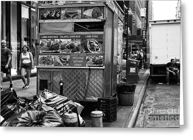Hot Dog Stand Greeting Cards - Midtown Stroll mono Greeting Card by John Rizzuto
