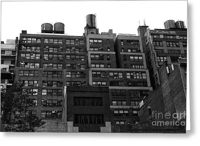 Midtown Greeting Cards - Midtown Water Towers mono Greeting Card by John Rizzuto