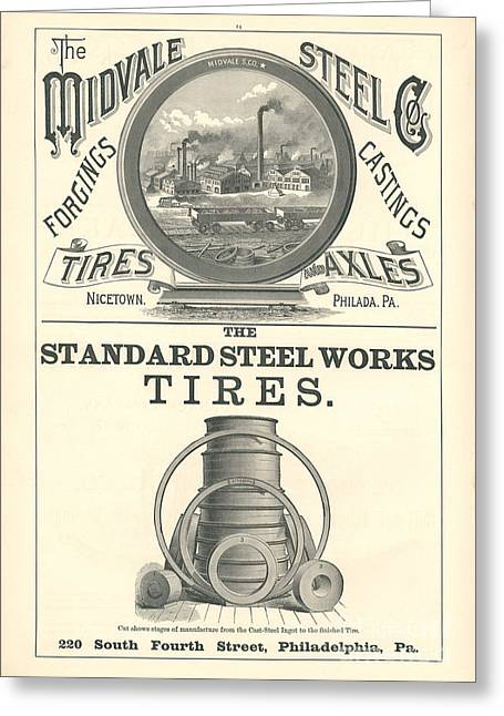 Advertisment Greeting Cards - Midvale Steel Co Railroad Advertisement Greeting Card by MMG Archive Prints