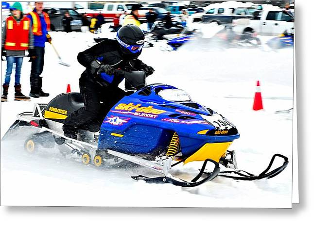Winter Sports Picture Greeting Cards - Midway BC Snow Drags - 25 Greeting Card by Don Mann