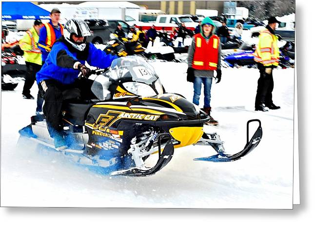 Ski Racing Art Greeting Cards - Midway BC Snow Drags - 28 Greeting Card by Don Mann