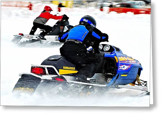 Winter Sports Picture Greeting Cards - Midway BC snow drags 2013 - 1 Greeting Card by Don Mann