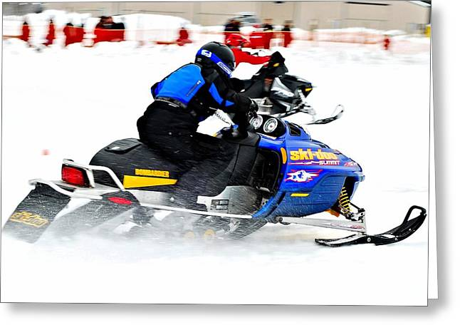 Winter Sports Picture Greeting Cards - Midway BC snow drags 2013  - 2 Greeting Card by Don Mann