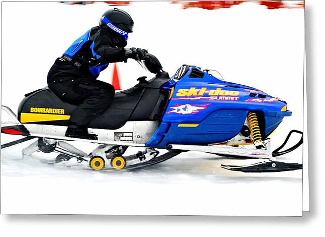 Winter Sports Picture Greeting Cards - Midway BC snow drags 2013  - 3 Greeting Card by Don Mann