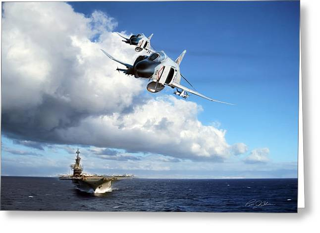 Carrier Digital Art Greeting Cards - Midway Phantoms Greeting Card by Peter Chilelli