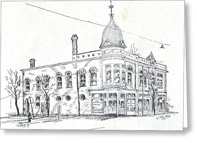 Pen And Ink Drawing Greeting Cards - Midway Post Office Greeting Card by David Neace