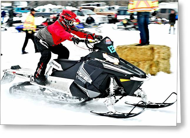 Winter Sports Picture Greeting Cards - Midway Snow Drags - 20 Greeting Card by Don Mann