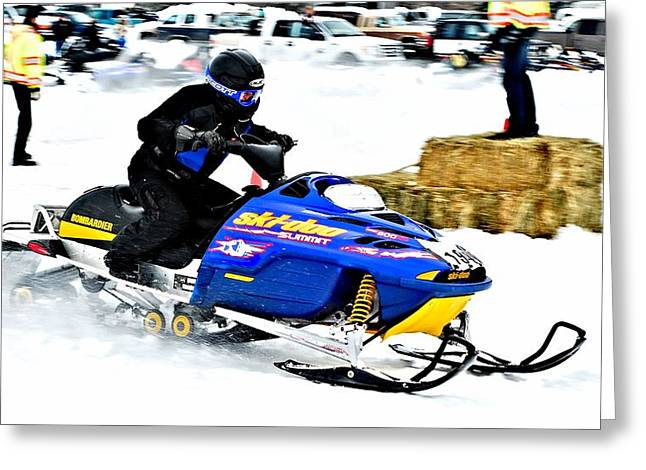 Winter Sports Picture Greeting Cards - Midway Snow Drags - 24 Greeting Card by Don Mann