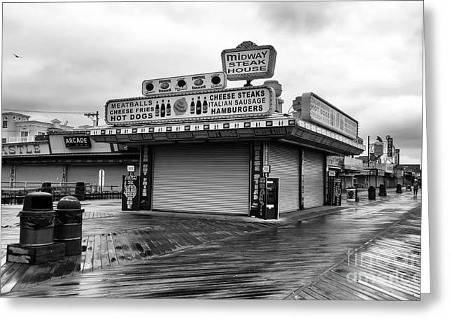 Seaside Heights Greeting Cards - Midway Steak House mono Greeting Card by John Rizzuto