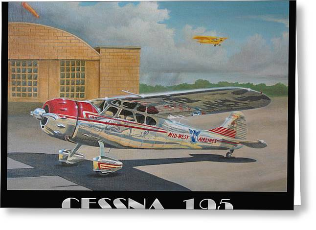 Propeller Paintings Greeting Cards - Midwest Airlines Cessna 195 Greeting Card by Stuart Swartz