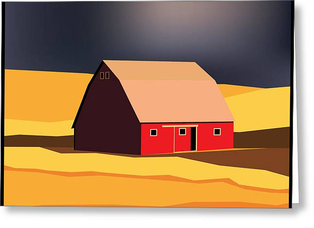 Abstract Shapes Greeting Cards - Midwest Barn Greeting Card by Gary Grayson
