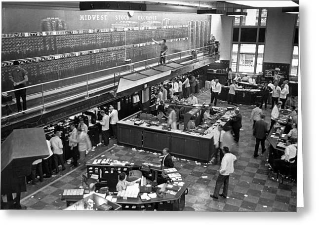 Midwest Stock Exchange Greeting Card by Underwood Archives