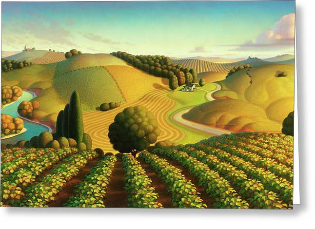 Vineyard Prints Greeting Cards - Midwest Vineyard Greeting Card by Robin Moline