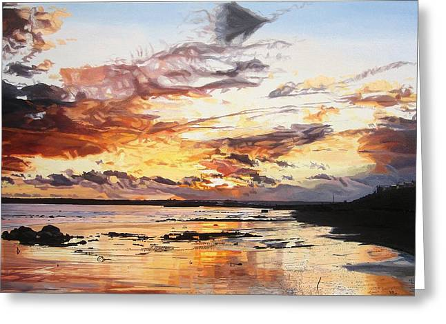 Amazing Sunset Paintings Greeting Cards - Midwinter Sunset Over Garryvoe Beach Greeting Card by Niall McCarthy