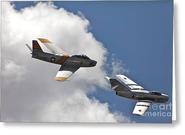 F-15 Print Greeting Cards - Mig 15 or F-86 ? Greeting Card by Hank Taylor