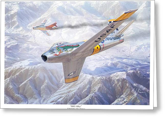 F-15 Print Greeting Cards - MiG Alley Greeting Card by Mark Karvon