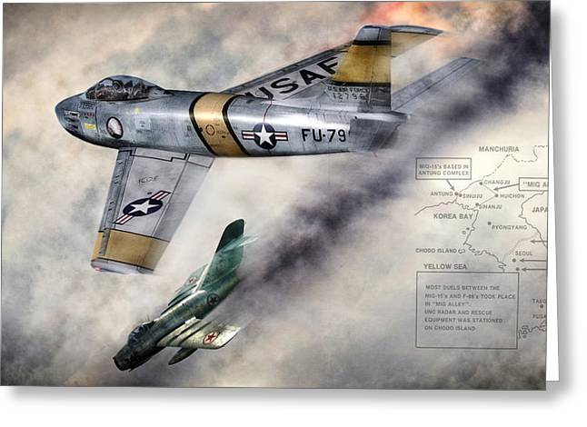 Soviet Greeting Cards - MiG Alley Greeting Card by Peter Chilelli