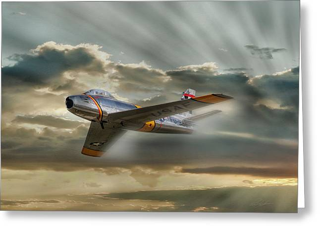 Dramatic Digital Greeting Cards - MiG Hunter Greeting Card by Peter Chilelli