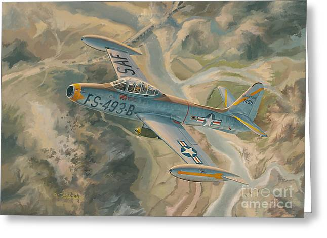 Flight Drawings Greeting Cards - MiG KIller Greeting Card by Randy Green