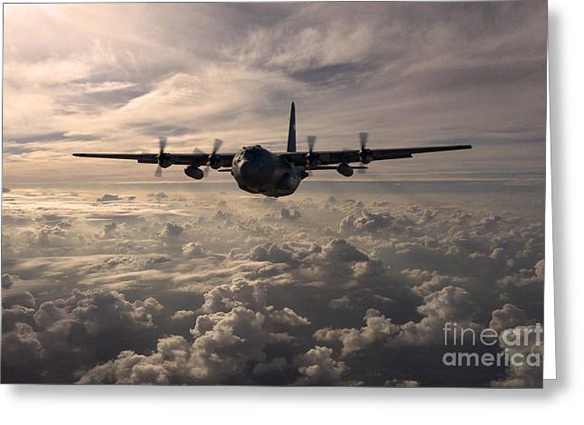 Military Airplane Greeting Cards - Mighty Hercules Greeting Card by J Biggadike