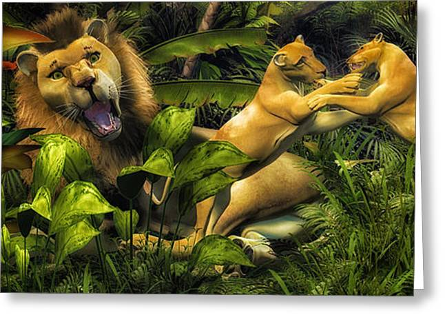 Lioness Greeting Cards - Mighty Jungle  Greeting Card by Todd and candice Dailey