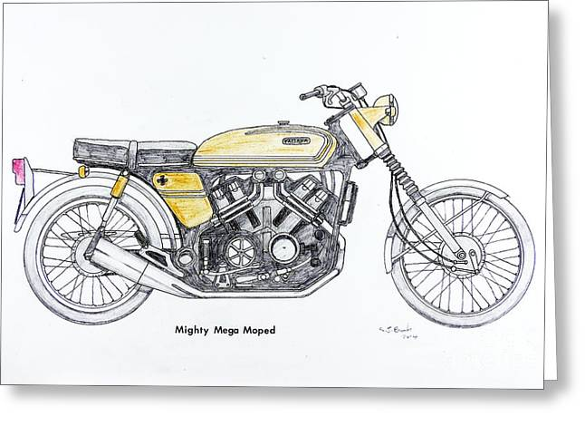Mudguard Greeting Cards - Mighty Mega Moped Greeting Card by Stephen Brooks