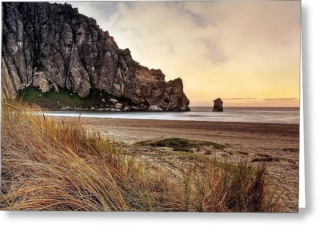 Morro Bay Greeting Cards - Mighty Rock Greeting Card by Aron Kearney Fine Art Photography