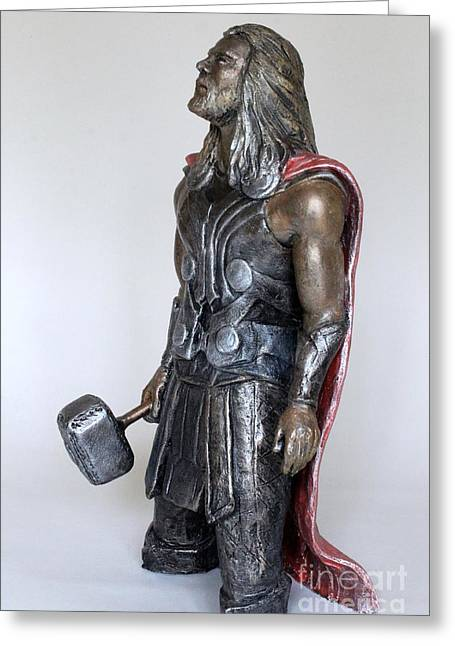 Great Sculptures Greeting Cards - Mighty Thor Greeting Card by Wayne Headley