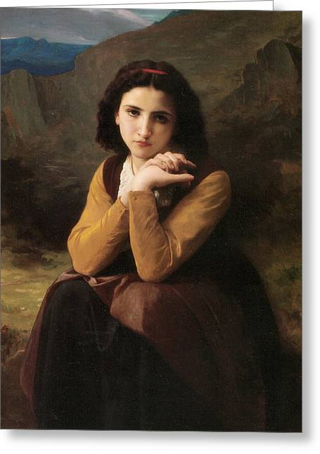 Young Lady Greeting Cards - Mignon Greeting Card by William Bouguereau