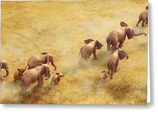 African Elephants Greeting Cards - Migration of Giants Greeting Card by Gary Hanna