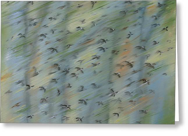 The North Greeting Cards - Migratory Geese Moon April Greeting Card by Ethel Vrana