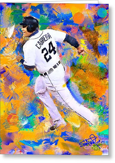 Baseball Paintings Greeting Cards - Miguel Cabrera 7 Greeting Card by Donald Pavlica