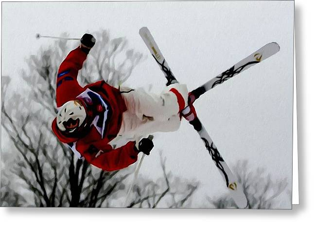 Skiing Action Paintings Greeting Cards - Mikael Kingsbury skiing Greeting Card by Lanjee Chee