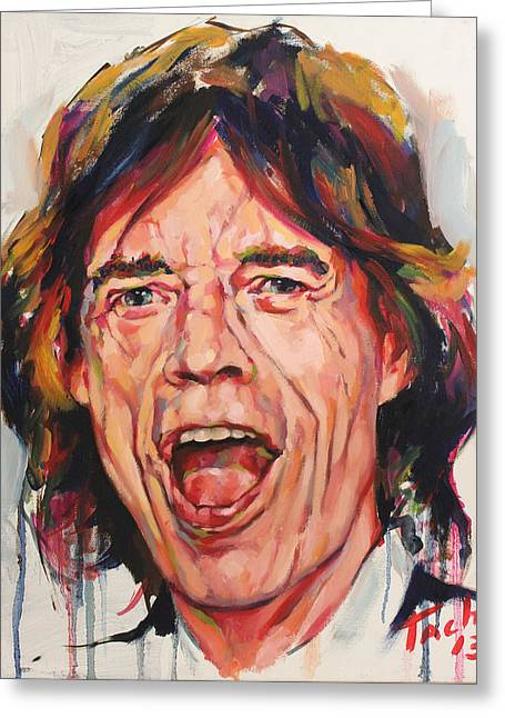Keith Richards Paintings Greeting Cards - Mike - 1 Greeting Card by Tachi Pintor