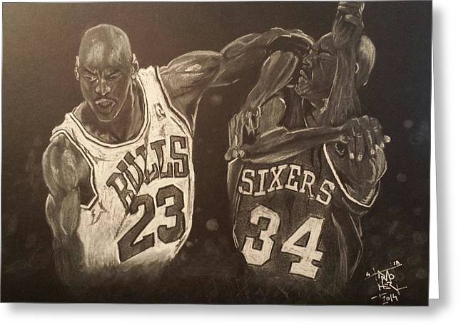 Basketball Pastels Greeting Cards - Mike and Sir Charles Greeting Card by DMo Herr