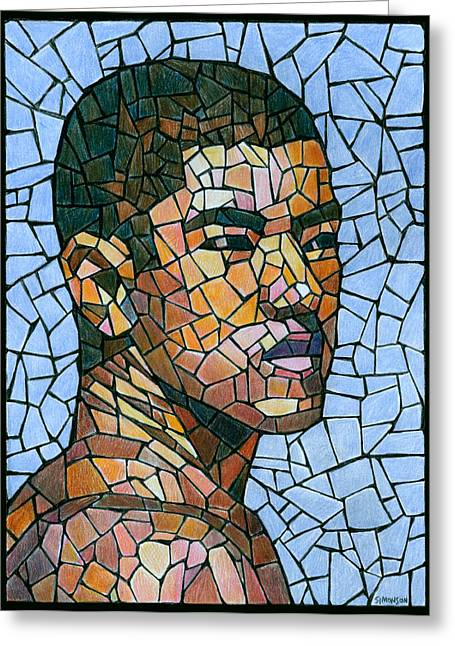 Drawing Color Pencils Drawings Greeting Cards - Mike in Mosaic Greeting Card by Douglas Simonson