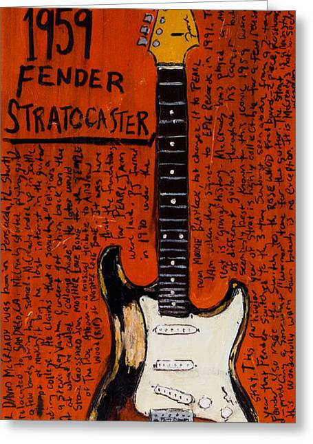 Old Relics Paintings Greeting Cards - Mike McCready 1959 Strat Greeting Card by Karl Haglund