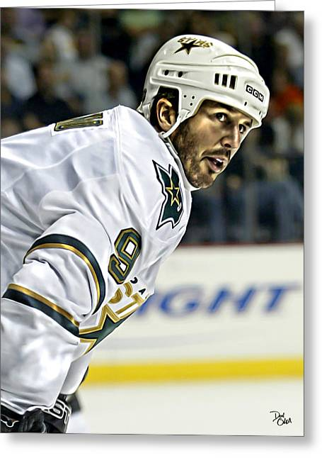 Reebok Greeting Cards - Mike Modano Greeting Card by Don Olea