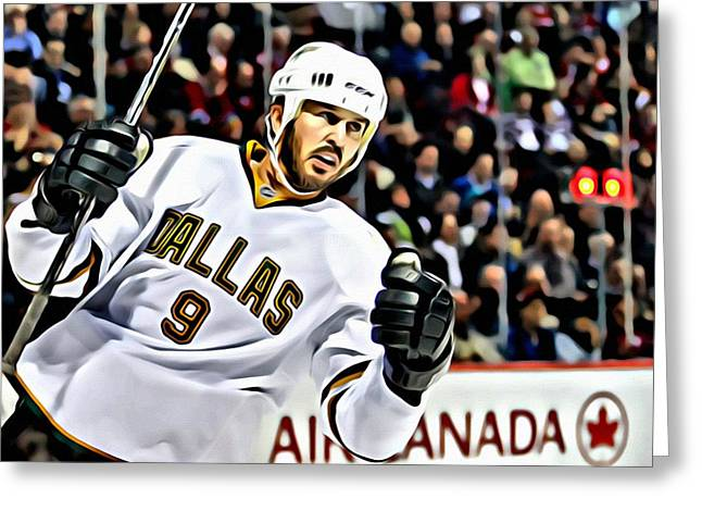 Detroit Legends Greeting Cards - Mike Modano Greeting Card by Florian Rodarte