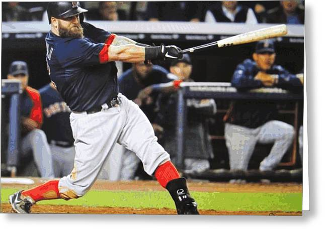 Red Sox World Series Greeting Cards - Mike Napolis Grand Slam  Greeting Card by Dan Haraga